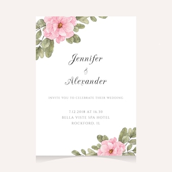 Disegno di nozze dell'acquerello con fiori rosa