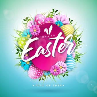 Disegno di pasqua felice con uovo dipinto e fiore di primavera