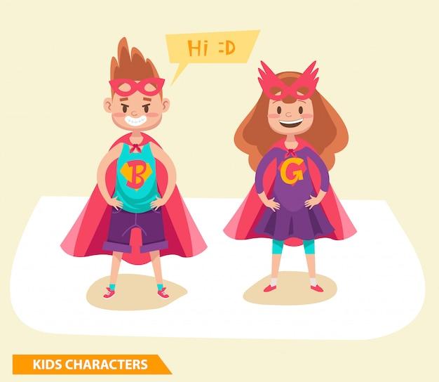 Disegno di personaggi maschili e femminili di supereroi per bambini
