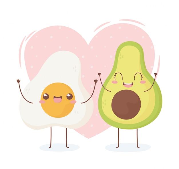 Disegno di personaggio dei cartoni animati dell'alimento di kawaii dell'avocado e dell'uovo fritto