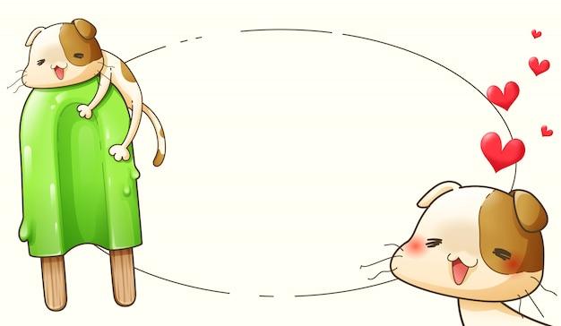Disegno di personaggio dei cartoni animati di gatto e gelato