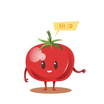 Disegno di personaggio dei cartoni animati di pomodoro