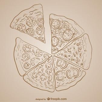 Disegno di pizza vettoriale