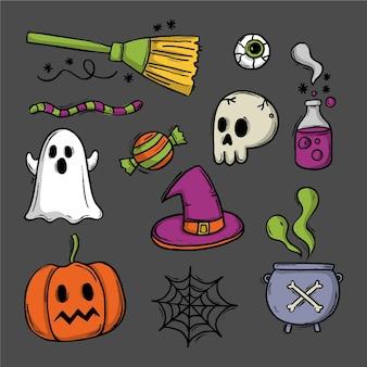 Disegno di raccolta di elementi di halloween