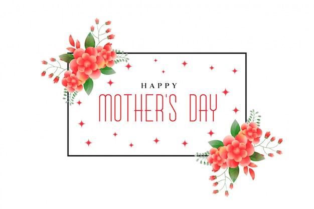 Disegno di saluto di fogliame di giorno della madre felice