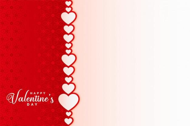 Disegno di scheda felice giorno di san valentino con sfondo di cuori