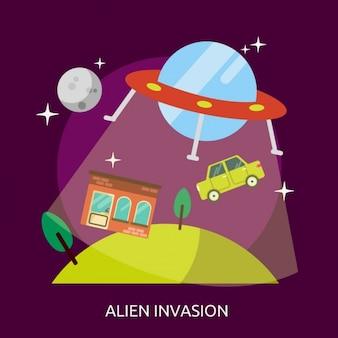 Disegno di sfondo alien invasion