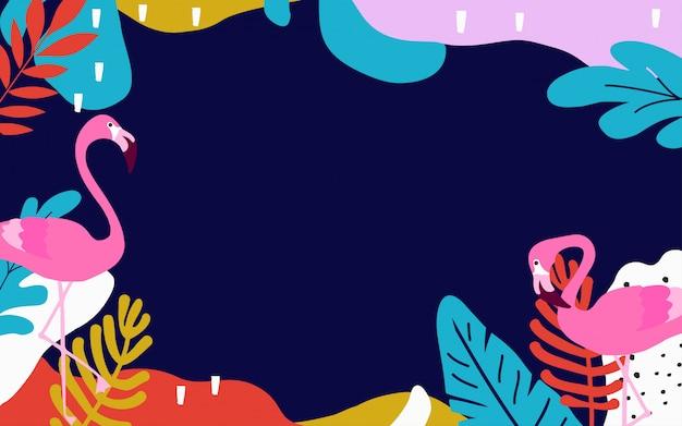 Disegno di sfondo colorato poster tropicale con foglie di giungla e fenicotteri