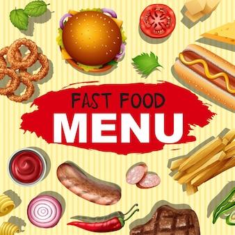 Disegno di sfondo con diversi menu per fast food