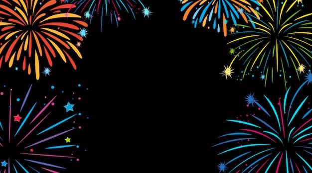 Disegno di sfondo con fuochi d'artificio colorati