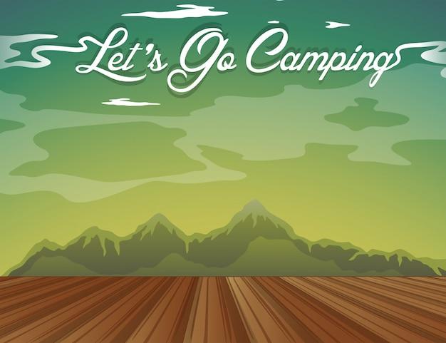 Disegno di sfondo con parole andiamo in campeggio