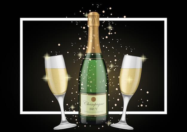 Disegno di sfondo di champagne