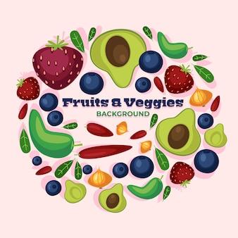 Disegno di sfondo di prodotti alimentari sani