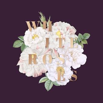 Disegno di sfondo di rose bianche