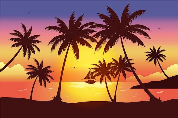 Disegno di sfondo di sagome di palma