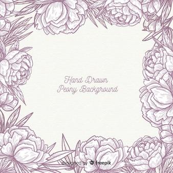 Disegno di sfondo disegnato a mano di fiori di peonia