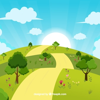 Disegno di sfondo paesaggio soleggiato