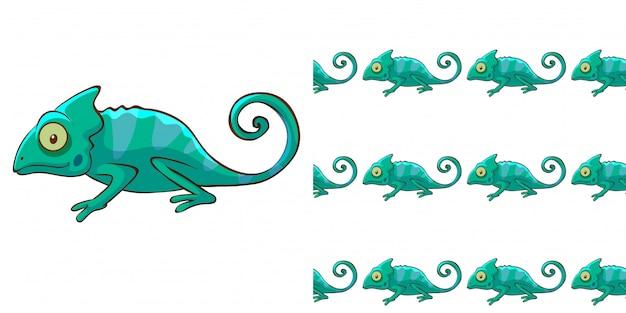 Disegno di sfondo senza soluzione di continuità con camaleonte verde