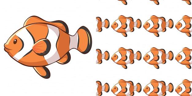 Disegno di sfondo senza soluzione di continuità con pesce pagliaccio