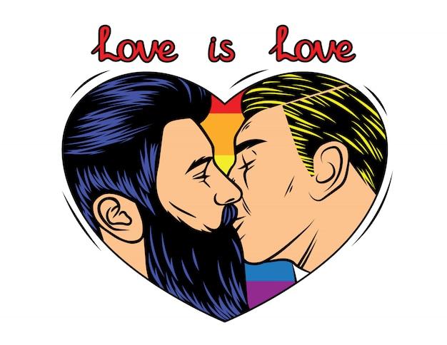 Disegno di stampa vettoriale colorato con baciare coppia omosessuale. sfondo arcobaleno con testo