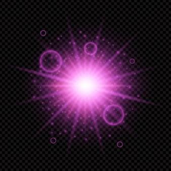 Disegno di starburst su uno sfondo trasparente scuro