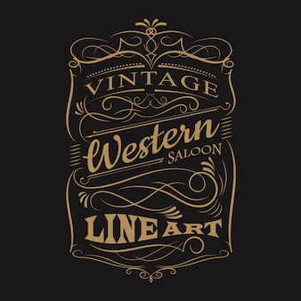 Disegno di t-shirt telaio disegnato a mano occidentale tipografia etichetta vintage