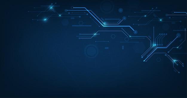 Disegno di tecnologia vettoriale su sfondo di colore blu scuro.