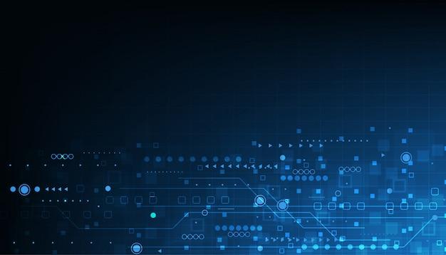 Disegno di tecnologia vettoriale su sfondo di colore blu