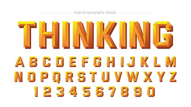 Disegno di tipografia arancione 3d smussato