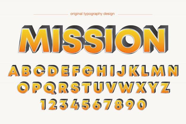 Disegno di tipografia arancione smussato grassetto