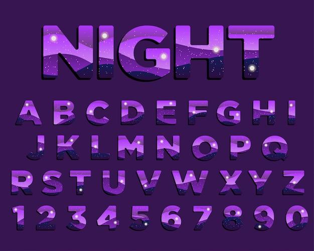 Disegno di tipografia astratta notte viola