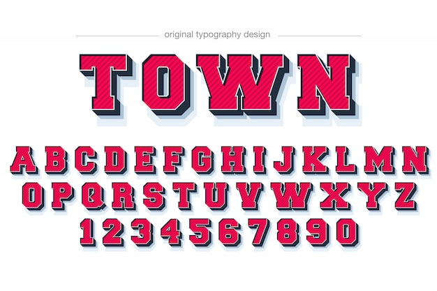 Disegno di tipografia rosso smussato grassetto