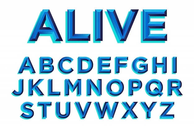 Disegno di tipografia smussatura blu