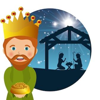 Disegno di tre re saggio manger