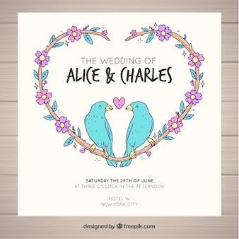 Disegno di uccelli della carta di nozze