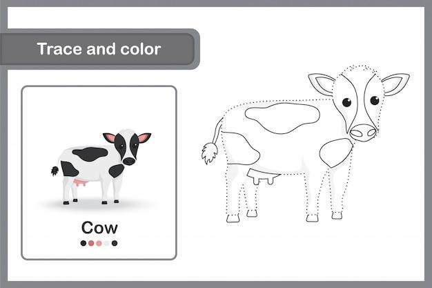 Disegno di un foglio di lavoro per bambini in età prescolare, traccia e colora: mucca