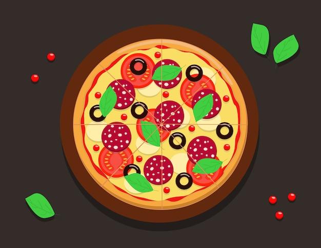 Disegno di una pizza tonda intera con pomodori, salsiccia di peperoni, formaggio alle olive e basilico.