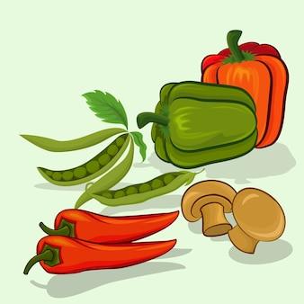 Disegno di vettore del fagiolo e del fungo del peperoncino dolce del peperone dolce