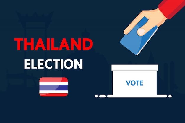 Disegno di vettore di elezioni della tailandia 2019.