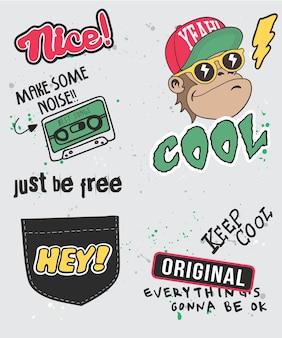 Disegno di vettore di scimmia fresco disegnato a mano per la stampa di t-shirt