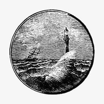 Disegno di vista sul mare tempestoso