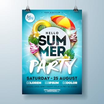 Disegno di volantino di summer party di vettore con ombrellone e gelato