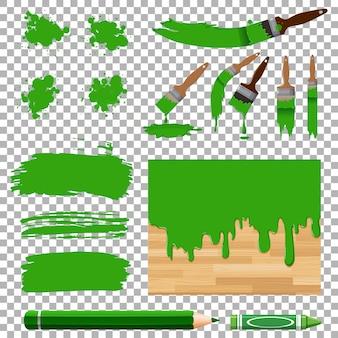 Disegno differente della pittura dell'acquerello nel verde