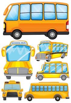 Disegno differente di illustrazione del bus di scuola