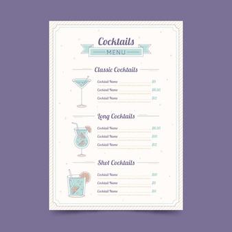 Disegno disegnato a mano del menu del cocktail
