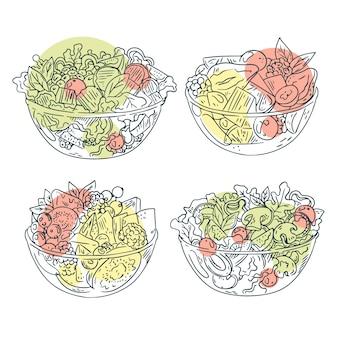 Disegno disegnato a mano di insalatiere di frutta e insalata
