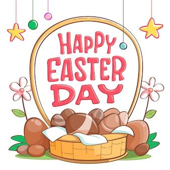 Disegno disegnato a mano di pasqua con il cestino delle uova di cioccolato
