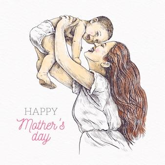 Disegno disegnato a mano festa della mamma