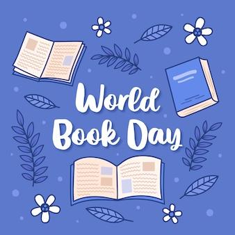Disegno disegnato a mano per la giornata mondiale del libro con scritte