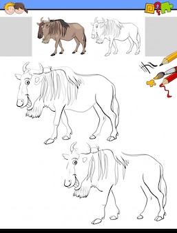 Disegno e colorazione del foglio di lavoro con l'animale bestia selvaggia
